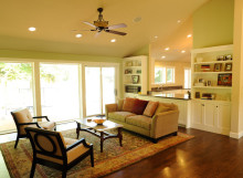 Home Remodel - New hardwood floors, bookshelves, living room, windows, kitchen, vaulted ceiling
