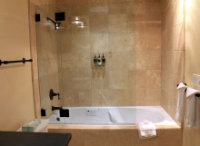 Inn at Sonoma - Private Suite - Travertine Tub and Shower Surround - Commercial construction project in Sonoma